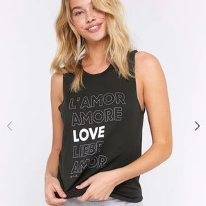 Spiritual gangster Amore Muscle black Tank top